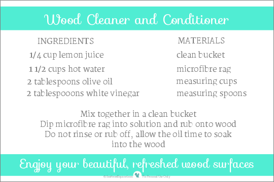 free printable recipe for making your own Wood Cleaner and Conditioner, all in one. | ScatteredSquirrel.com