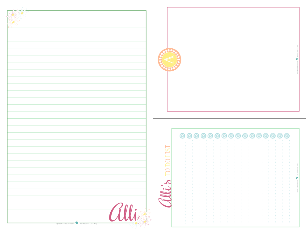 Printable Personalized Stationery set   ScatteredSquirrel.com