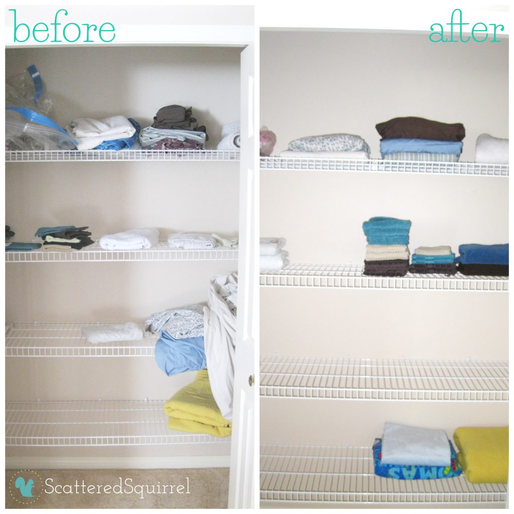 My boring before and after of my linen closet shortly after we moved into our new home. | ScatteredSquirrel.com