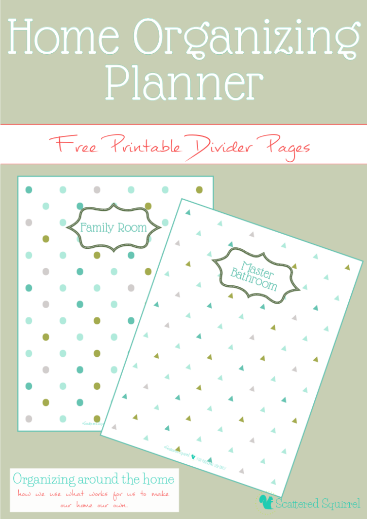 home organizing planner printables, divider pages in two different backgrounds. |ScatteredSquirrel.com
