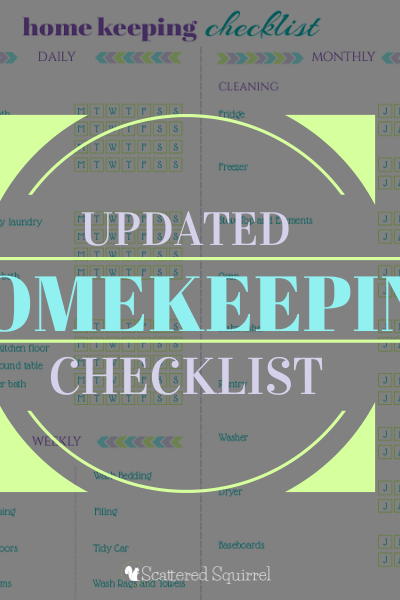 Free Updated Homekeeping Checklist Printable | ScatteredSquirrel.com