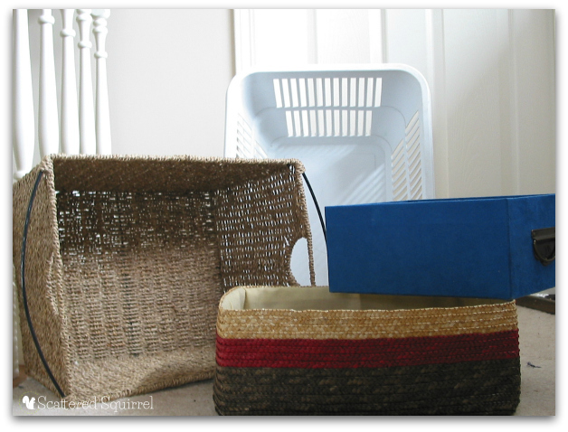 Baskets and boxes are your number one tool when it comes to decluttering and organiziing. | ScatteredSquirrel.com