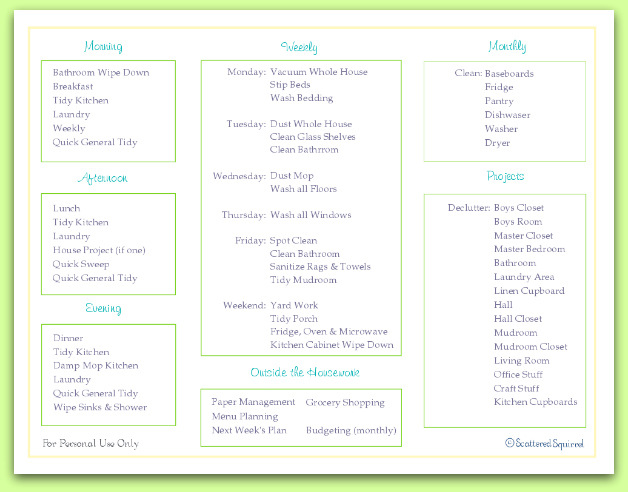 free printable, daily and weekly cleaning checklist | ScatteredSquirrel.com