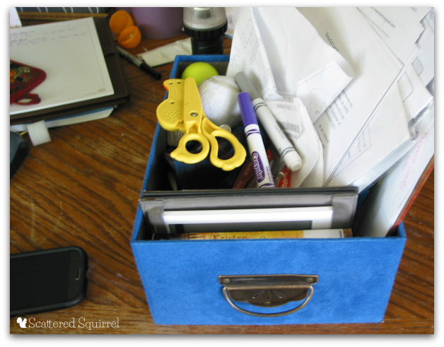 Fill your basket or box and only worry about decluttering what is in that box. | ScatteredSquirrel.com