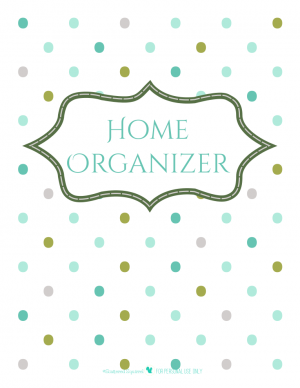 free printable home organizer planner cover page with polka dot background | ScatteredSquirrel.com