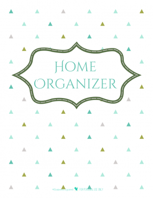 free printable home organizer planner cover page with triangle background| ScatteredSquirrel.com