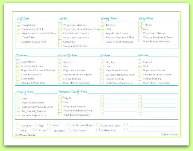 free printable, room by room cleaning schedule and checklist checklist   ScatteredSquirrel.com