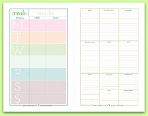 half page meal planner with grocery list