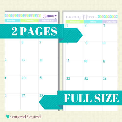 Free Printable 2015 Full Size Calendar with 2 Pages per month.   ScatteredSquirrel.com