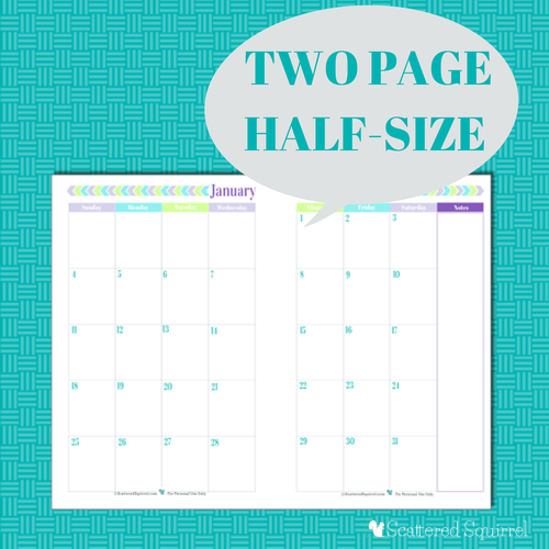 Free Printable 2015 Half Size Calendar with 2 Pages per month.   ScatteredSquirrel.com