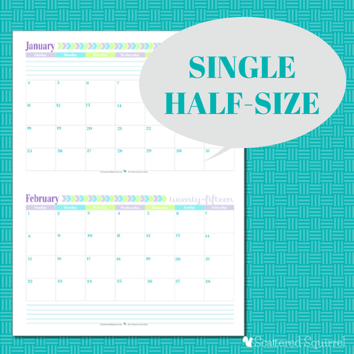Free Printable 2015 Half Size Calendar with 1 month per page   ScatteredSquirrel.com