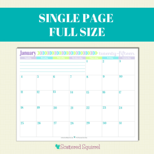 Free Printable 2015 Full Size Calendar with 1 month per page | ScatteredSquirrel.com