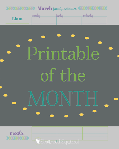 June's printable of the month. A free family scheduler complete with free personalization if you choose. |ScatteredSquirrel.com