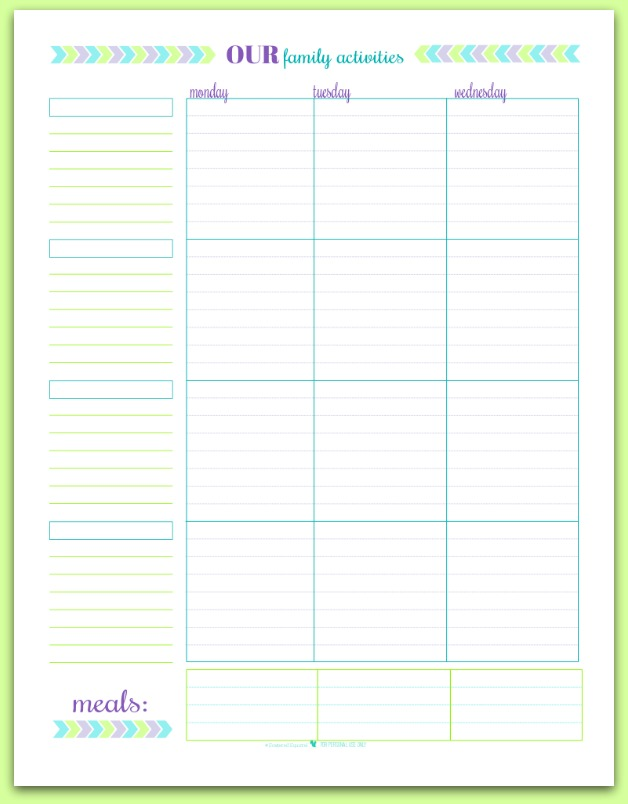 Free Printable Weekly Family Schedule/Planner | ScatteredSquirrel.com