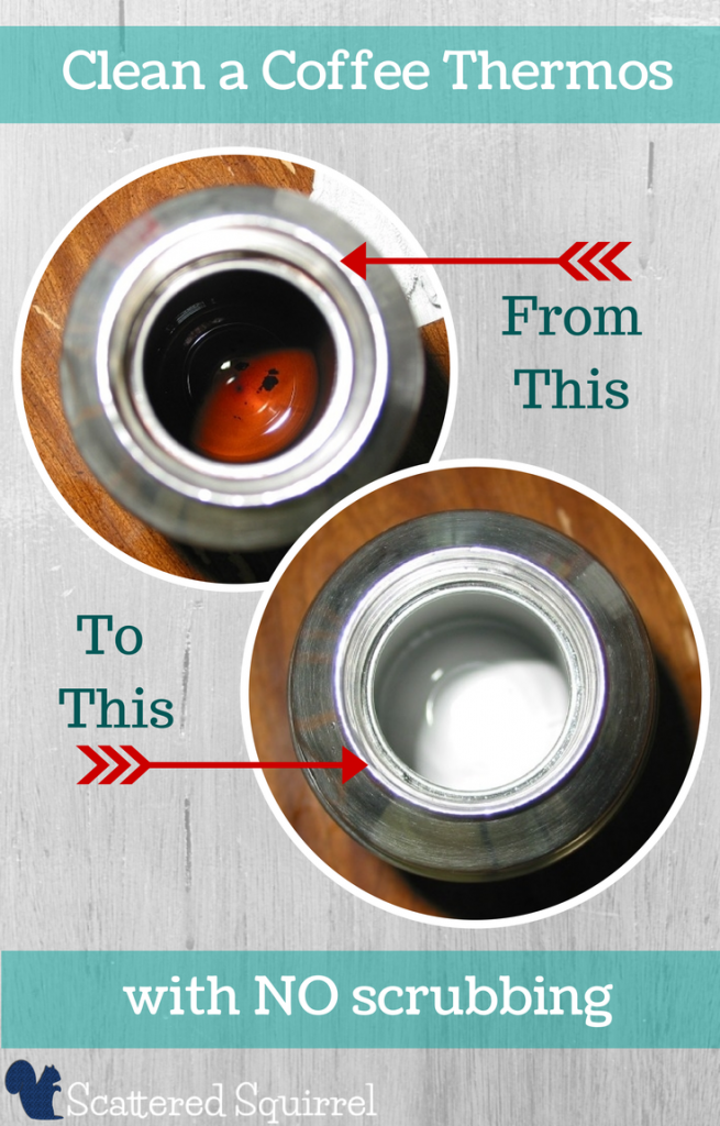 Get rid of those coffee stains and make your thermos look like new without have to scrub!