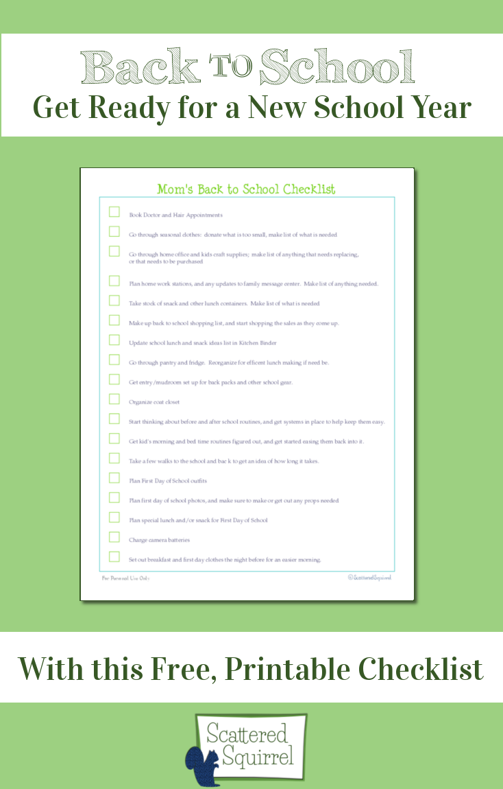 A back to school printable checklist with all the things you might need to do to get ready for a new school year