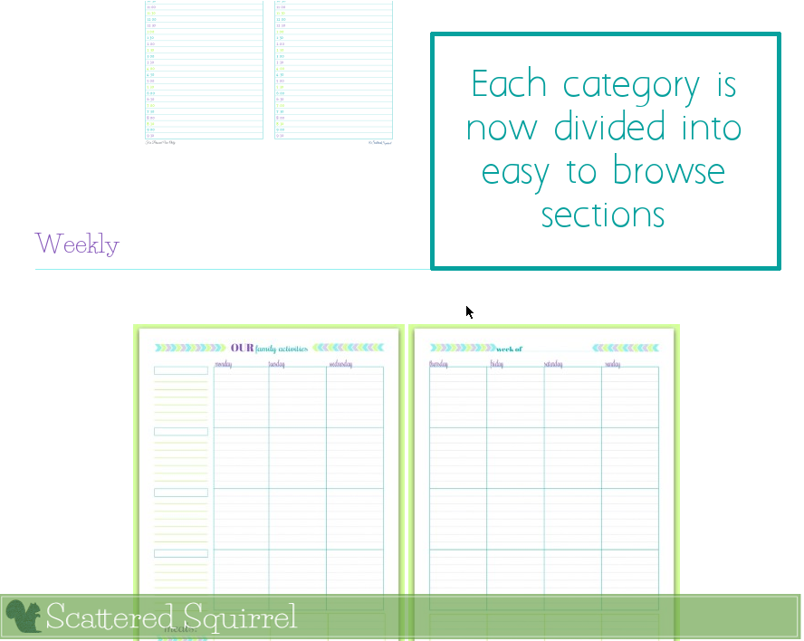 Each Printable Pages is now divided into easy to browse sections.