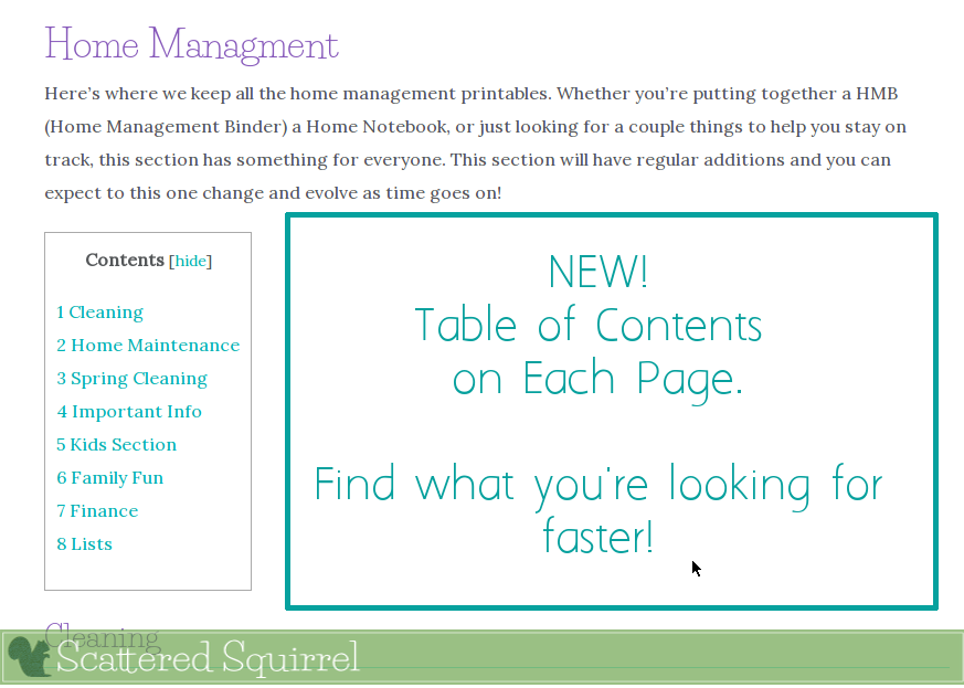 Each printable category now has a table of contents so you can easily skip down to the section you want.