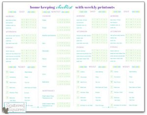 The Half-Size Home Keeping Checklist. I combined the home keeping checklist with the new weekly printout to create this all in one printable.