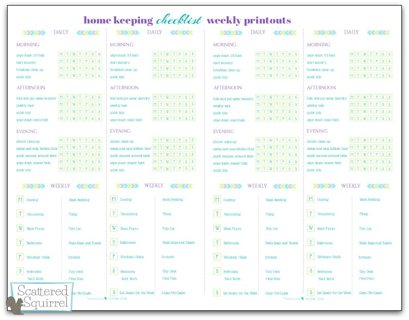 Half-Size Home Keeping Weekly Printouts. This one is just the weekly printouts for anyone who would like to just use them, or use them with the Half-size Home Keeping Checklist