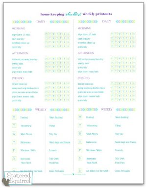 Home keeping checklist weekly printouts are made to use alone or in conjunction with the home keeping checklist