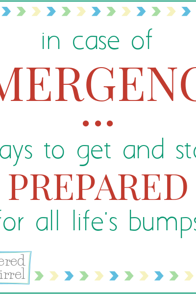 Emergency Preparedness, ways to get and stay prepared for all life's bumps.