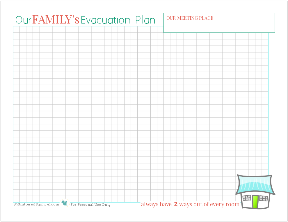 Make sure you and your family know what to do and where to go if there's a fire in the house with this free fire escape plan printable.