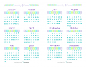Half-Size 2015 Yearly Calendar. 6 months per page.. These half-size printable calendars print on one 8.5 x 11 page, simply print, fold in half with printed side facing out, and hole punch, or cut in half and use the back side of each page for notes.