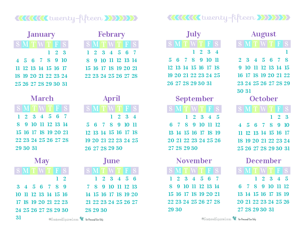 Year Calendar Print Out : Day year on a page printable calendars