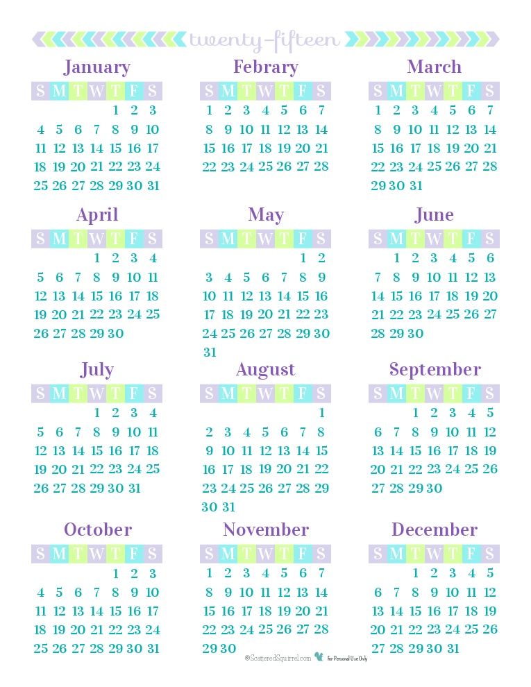 2015 Yearly Calendar printable. All 12 months on one printable page.