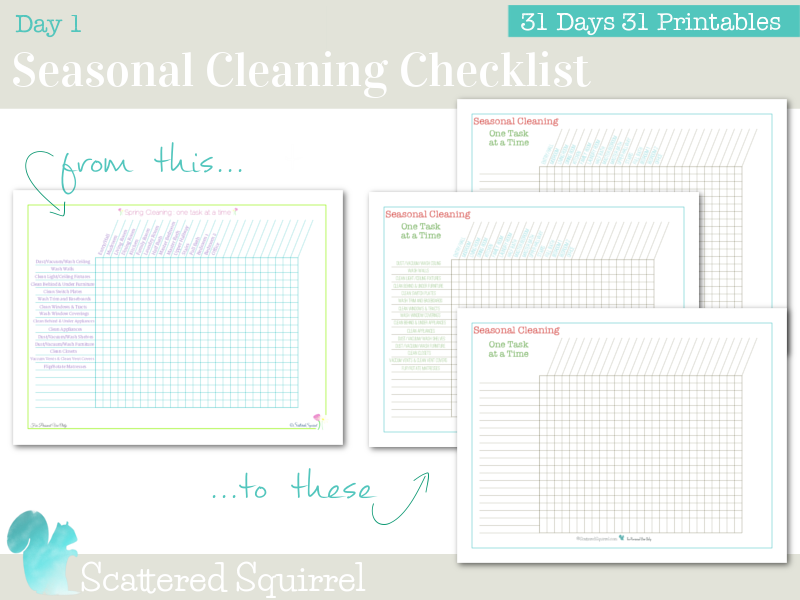Day 1 - Printable Seasonal Cleaning Checklists to help you customize a seasonal cleaning routine.