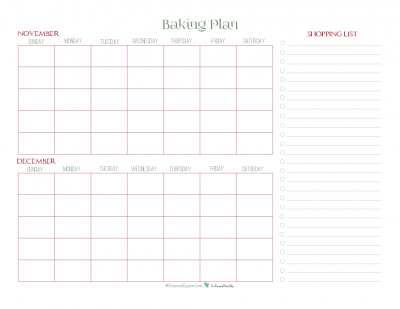 Use this baking plan printable to help plan out when you're going to do your holiday baking. The shopping list makes it great to jot down ingredients you'll need as you make up your plan.