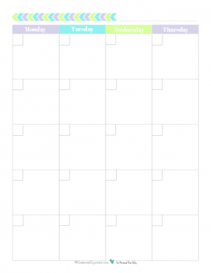This free blank monthly calendar begins on Monday and printable spreads one month out over two 8.5x11 pages and comes in a fun and fresh colour scheme.