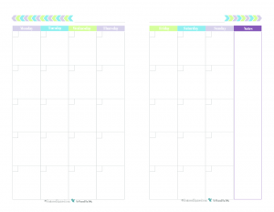 This free printable monthly calendar begins on Monday and prints one month spread over two half size pages and comes in a fun and fresh colour scheme.