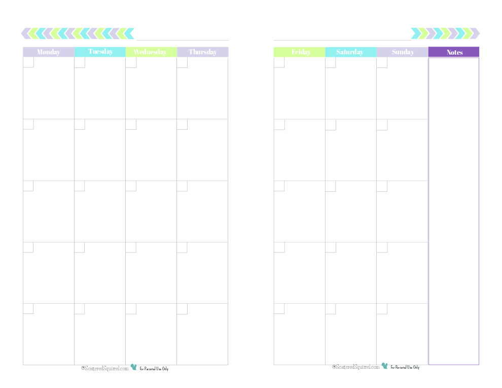 Blank 2 Page Per Month Calendar Half Size Green Blue Purple Monday