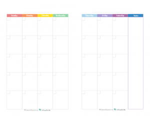 This free printable monthly calendar prints one month spread over two half size pages and comes in a rainbow colour scheme.