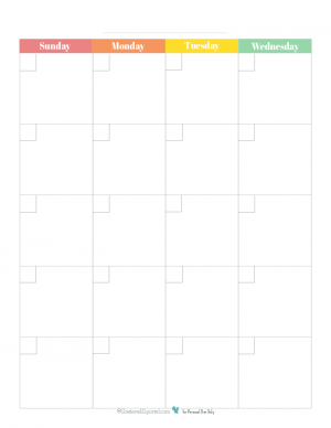 This free blank monthly calendar printable spreads one month out over two 8.5x11 pages and comes in a a rainbow colour scheme.