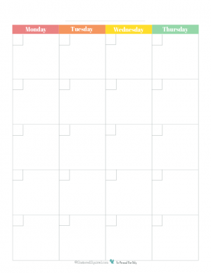 This free blank monthly calendar begins on Monday and printable spreads one month out over two 8.5x11 pages and comes in a a rainbow colour scheme.