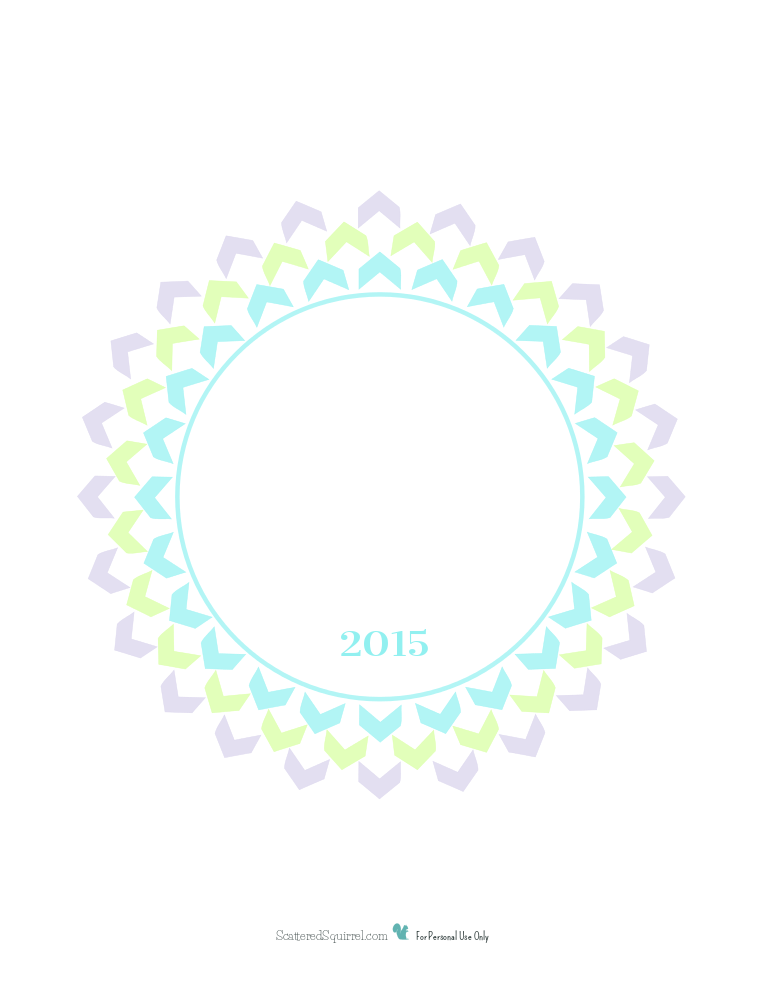 This 2015 Planner Cover Page features a starburst flower made from chevrons in the colours that match the 2015 Dated Calendar. Add you own title and use with any of the half-size planner printables to create a personalized planner that works for you.