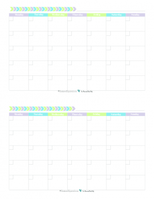 This free printable monthly calendar begins on Monday and prints two 4.25 x 5.5 per 8.5x11 page and features a fun and fresh colour scheme