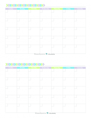 This free printable monthly calendar prints two 4.25 x 5.5 per 8.5x11 page and features a fun and fresh colour scheme