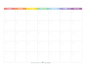 This free printable monthly calendar prints full size on 8.5X11 and features a rainbow colour scheme