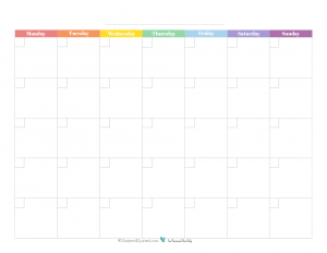 This free printable monthly calendar starts on Monday and prints full size on 8.5X11 and features a rainbow colour scheme