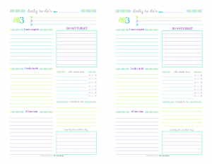 Half-Size Printable Daily To Do List for those days when you don't need a planner just a list.