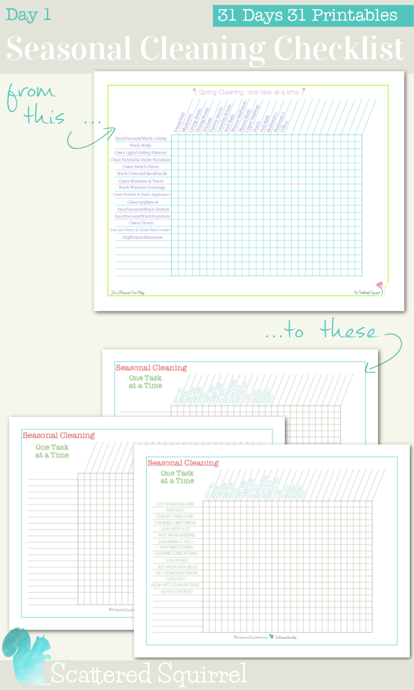 {31 Days 31 Printables} Day 1: Seasonal Cleaning Checklist printables. Three new layouts to choose from so you can stay on top of all those seasonal cleaning jobs.