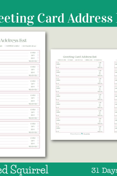 Day 10 - Greeting Card Address List- These handy printables are great for keeping track of loved ones addresses, whether or not you've sent a card and/or gift and if they have received them yet.