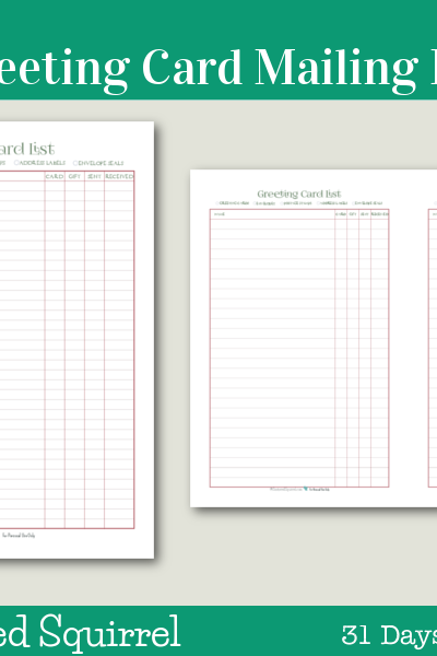 Day 11 - Greeting Card Mailing List - These handy printables are great for keeping track of who you want to send greeting cards to this holiday season.