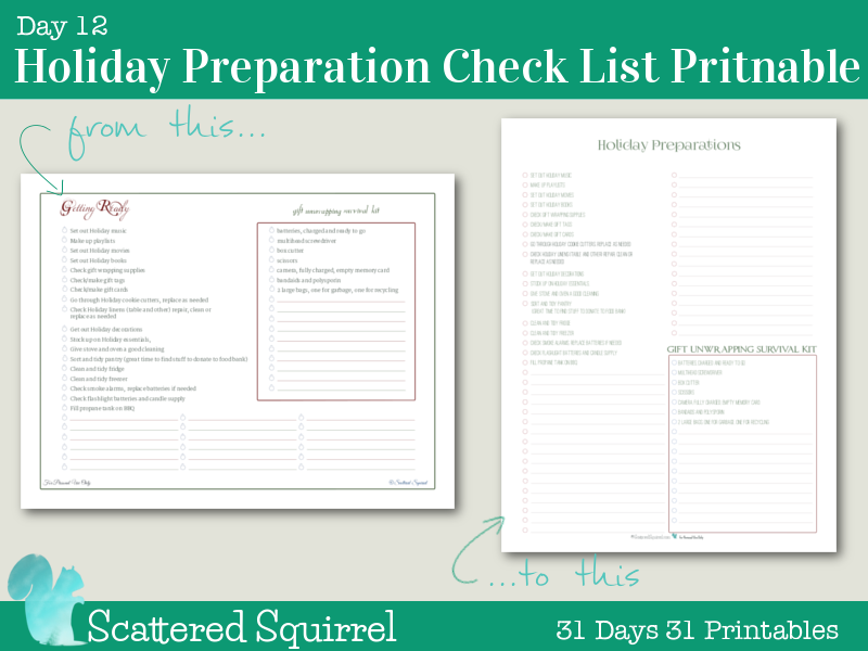 Day 12 Holiday Preparations Checklist: Get ready for the holiday season with this handy checklist