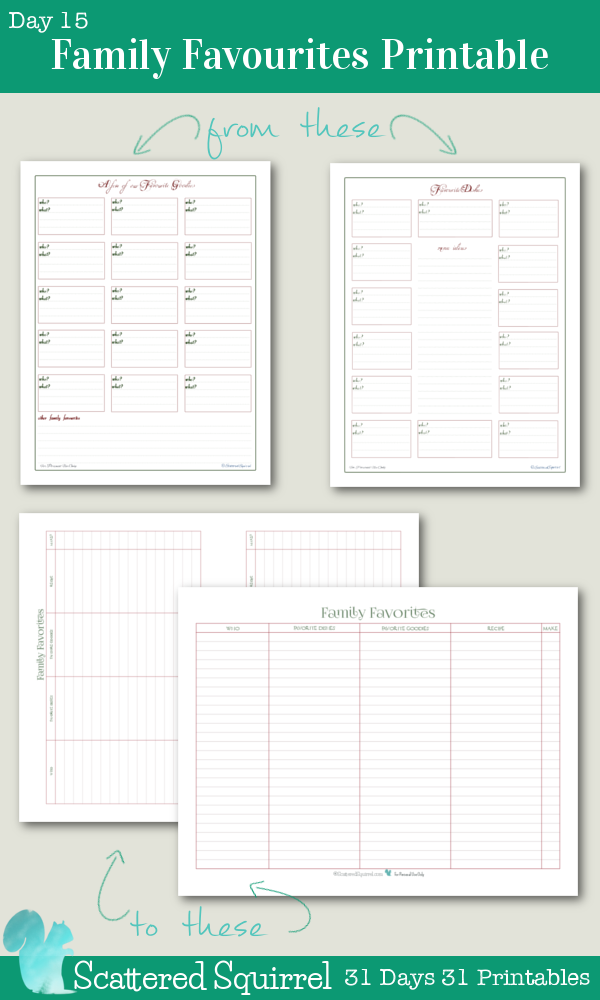 {31 Days 31 Printables} Day 15- Family Favourites Printable- This handy little printable will help you keep track of all your family's favourite holiday dishes and goodies. Choose from full size or half-size.