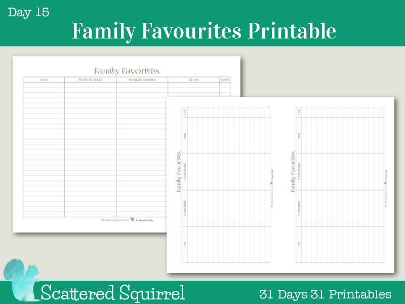 Day 15- Family Favourites- This handy little printable will help you keep track of all your family's favourite holiday dishes and goodies. Choose from full size or half-size.